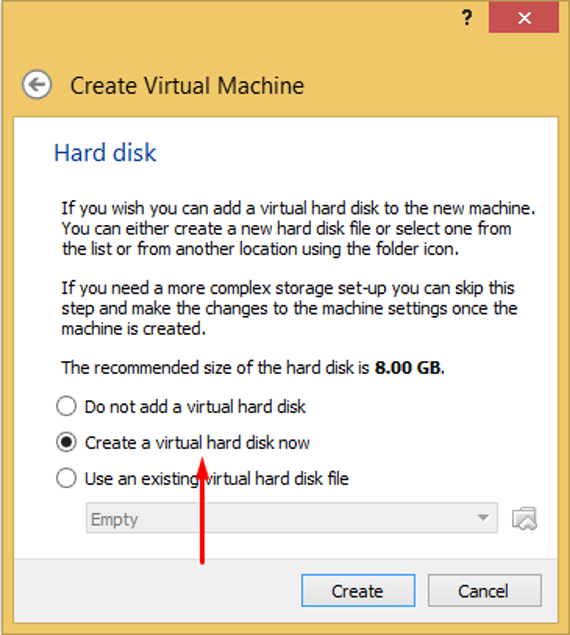 Create a virtual hard disk now