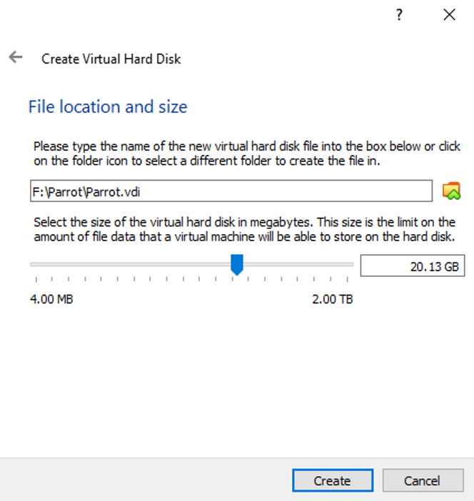 """Give location to install this VM and specify the size of the virtual hard disk. After that select """"Create"""""""