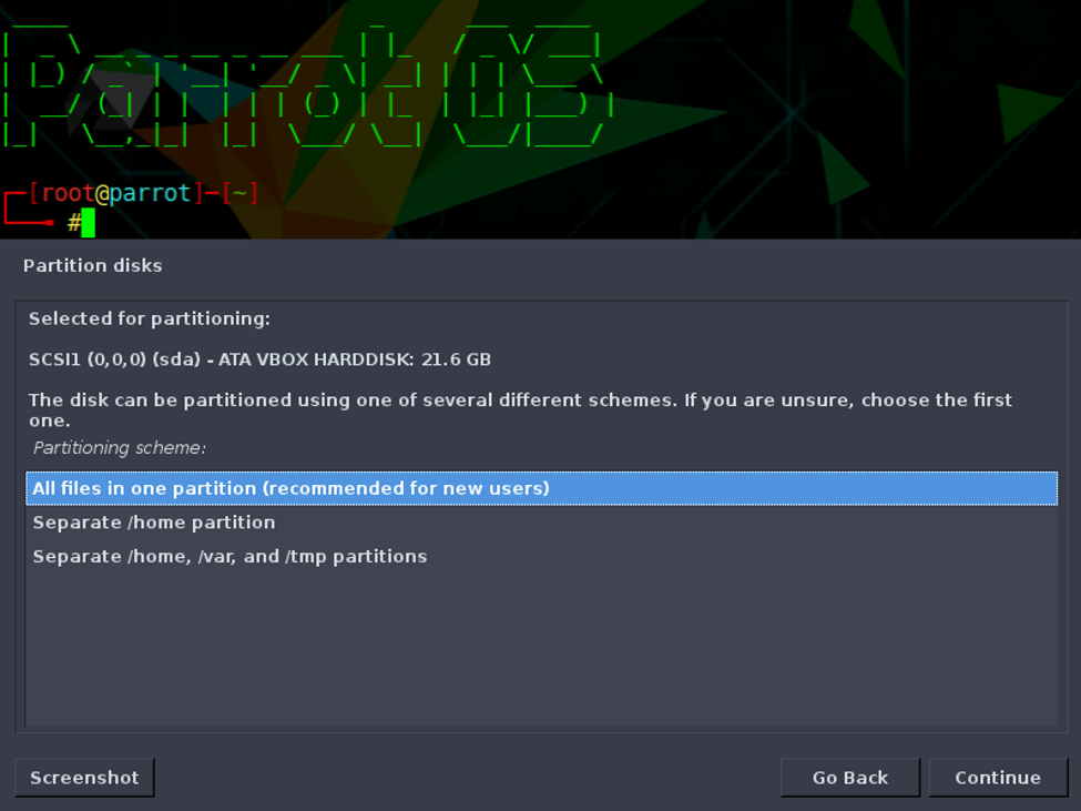 """If you are needed to make separate partition, then choose from below two options otherwise choose """"All files in one partition""""."""