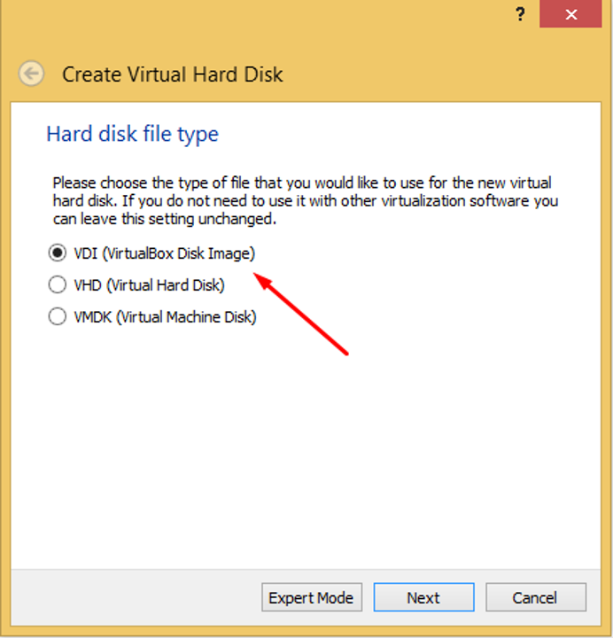 Make a VDI file