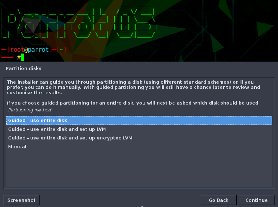 Next the installer will ask you about the partitions of the disk. Select 'Guided – use entire disk'.