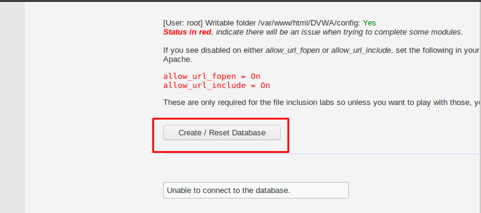 "Scroll down and select ""Create Reset Database"" to create a database"