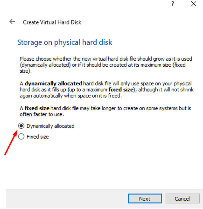 """Select storage to """"Dynamically allocated"""" as it will only take up space it is actually using, not the entire chosen memory space."""