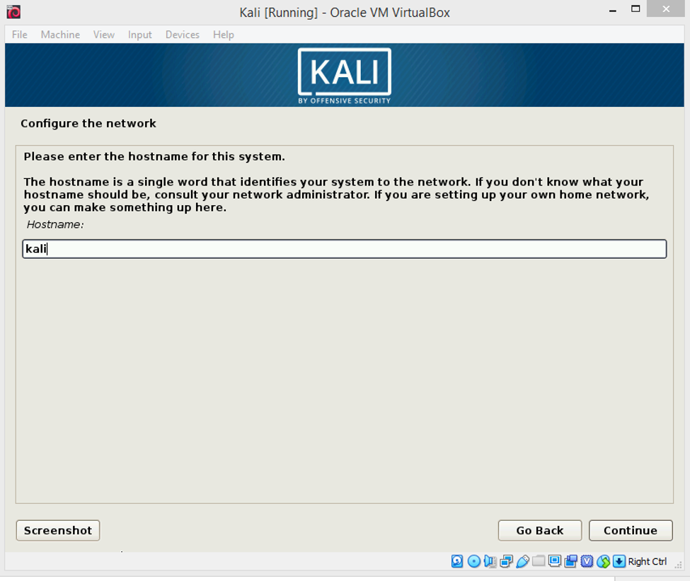 Set the hostname of the guest as 'Kali', you can choose any name