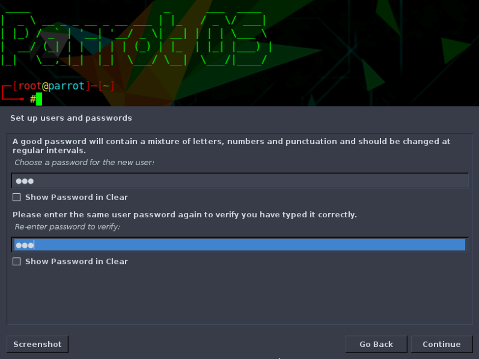 Specify password for non-root user account.