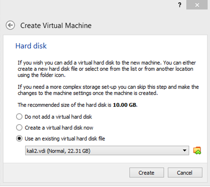 Use existing virtual hard disk file