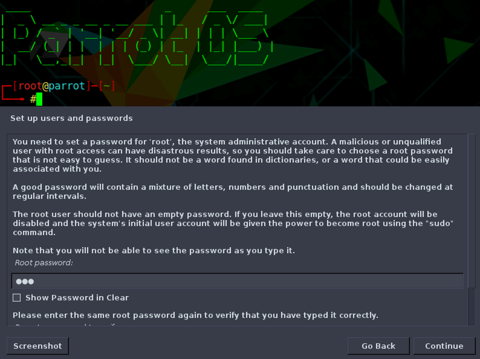 You must specify Root user password.