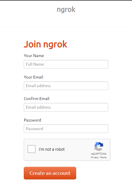 Create an account on Ngrok to download