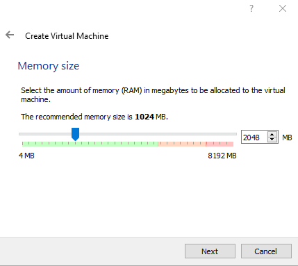 Select Memory size to be allocated