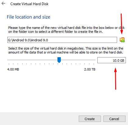 Select the File location and size of this android VDI hard drive