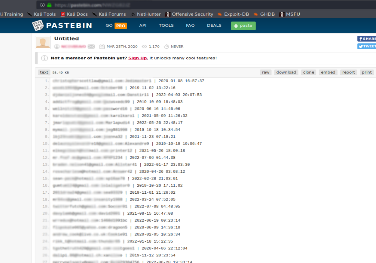Open any Pastebin URL and analyze the data