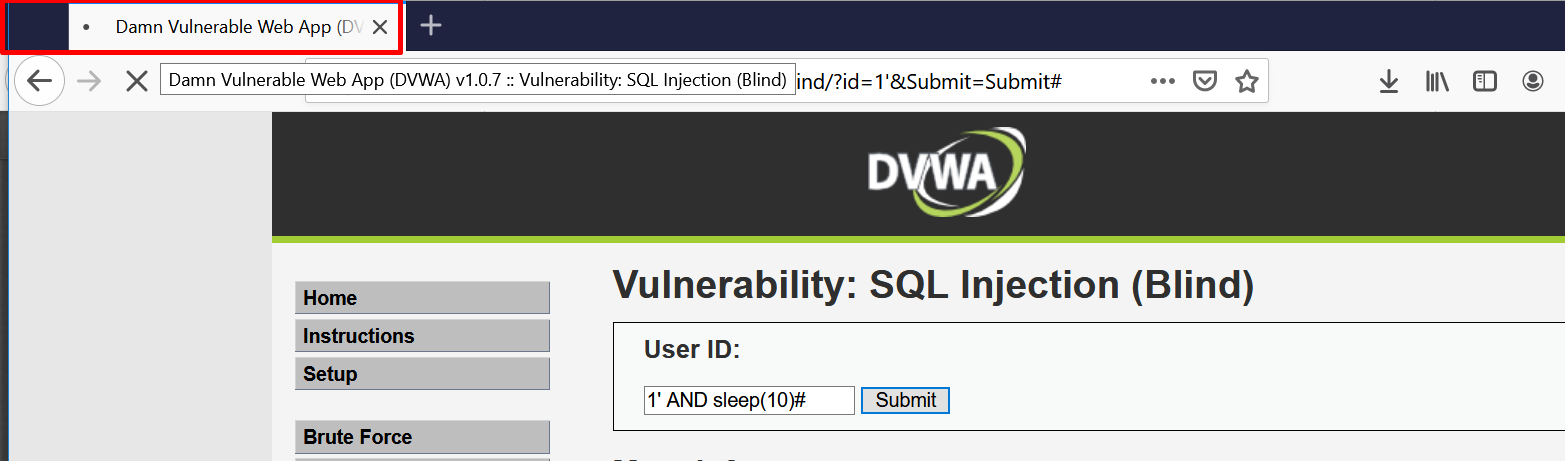 Detecting Blind SQL Injection using Sleep function
